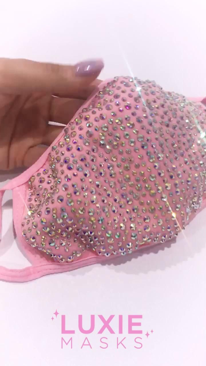 Pink Bling Face Mask Cute Pink Face Mask Pink Crystal Face Mask Pink Bedazzled Face Mask -   18 beauty Mask ideas