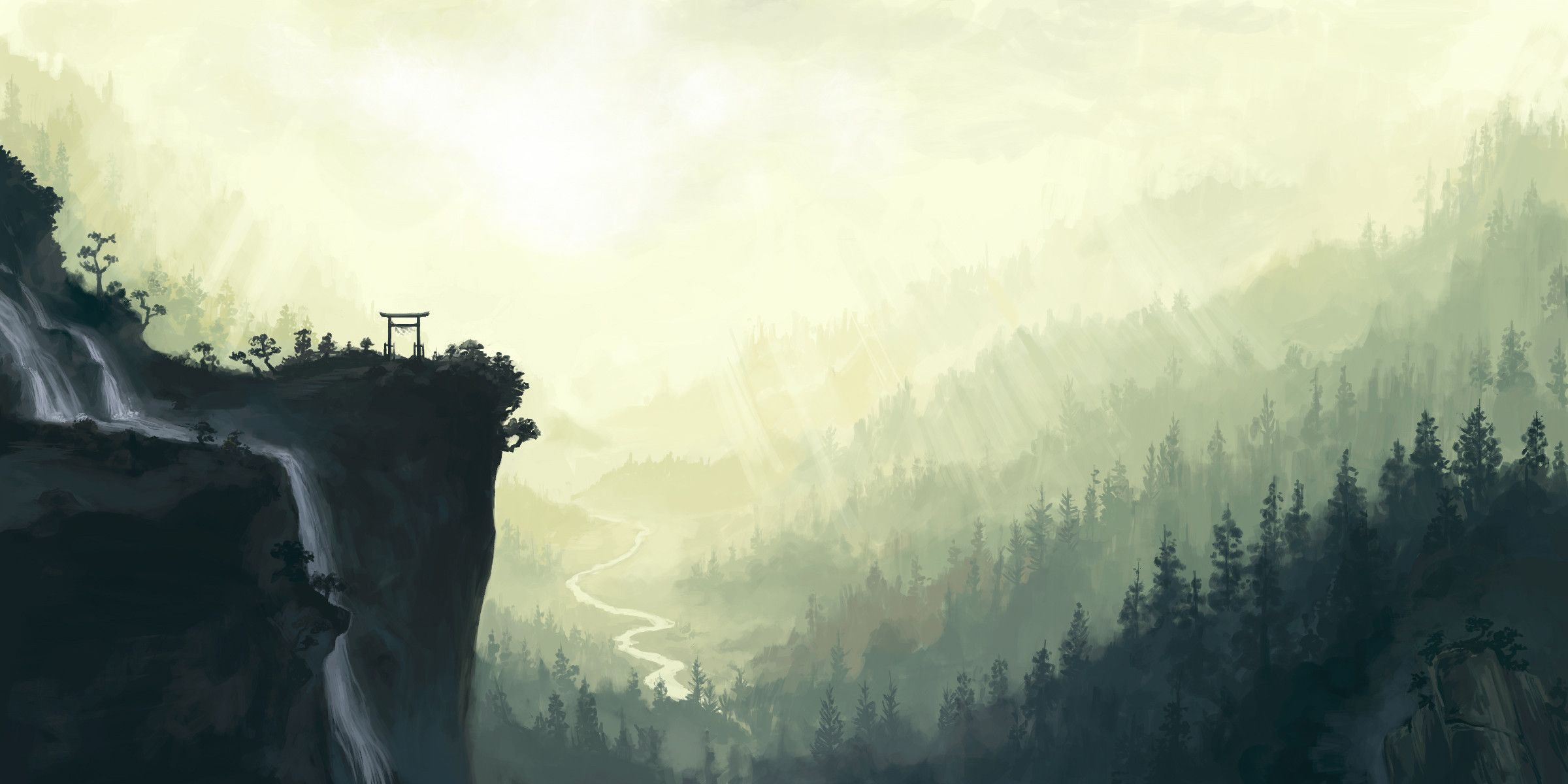 Cool Japanese Landscape Ink Painting Images Design Inspiration Tumblr Scenery Painting Wallpaper Scenery Background