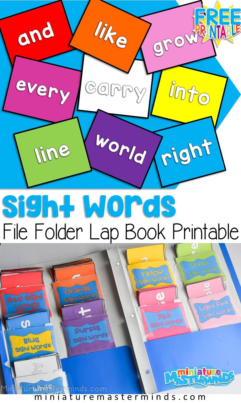 Rainbow Sight Words File Folder Flash Cards For Kindergarten Free Printable Sight Word Flashcards Free Kindergarten Printables Sight Words Kindergarten [ 1280 x 768 Pixel ]