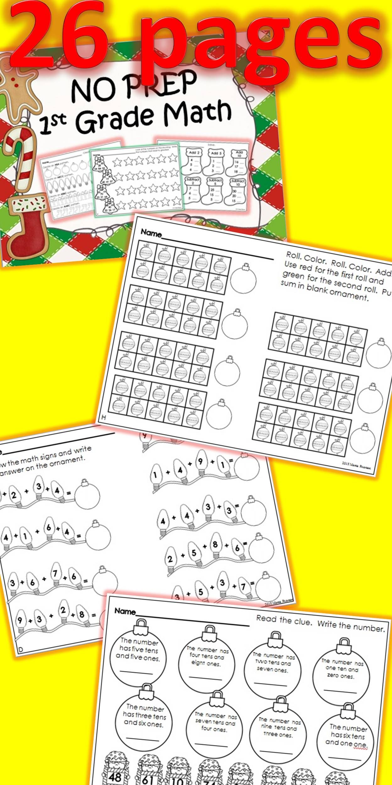 26 NO PREP pages are ready to go to help your students review some math skills during the month of December.   With this purchase your students will review:  even/odd ordering numbers adding/subtracting 10 adding to 10 efficient equations tally marks place value missing addends reading number words patterns money graphing greater than/less than fact families ordinal position counting time $
