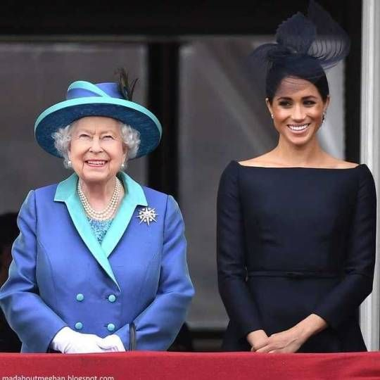 Queen Elizabeth II And The Duchess Of Sussex Watch The RAF