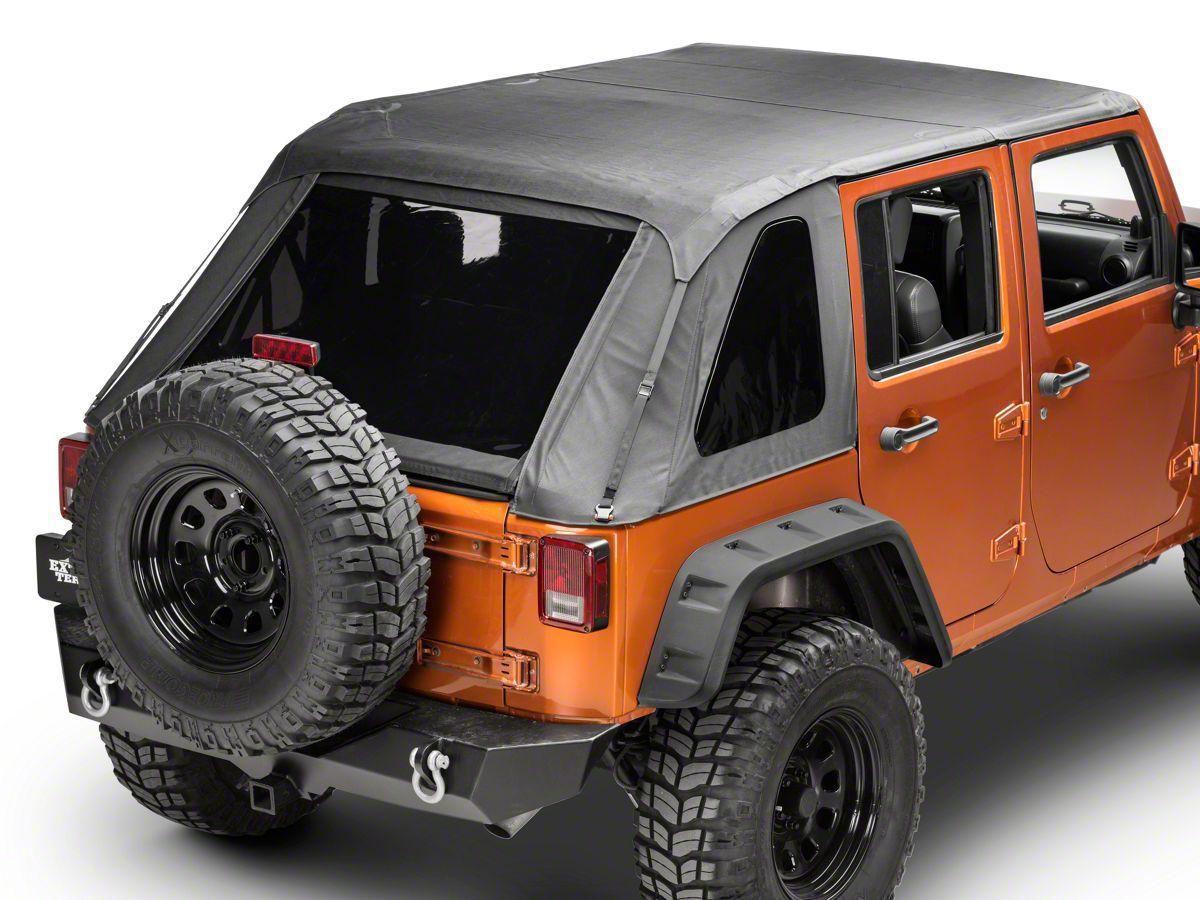 Smittybilt Extended Bikini Top Black Diamond For 10-18 Jeep Wrangler JK 2 Door