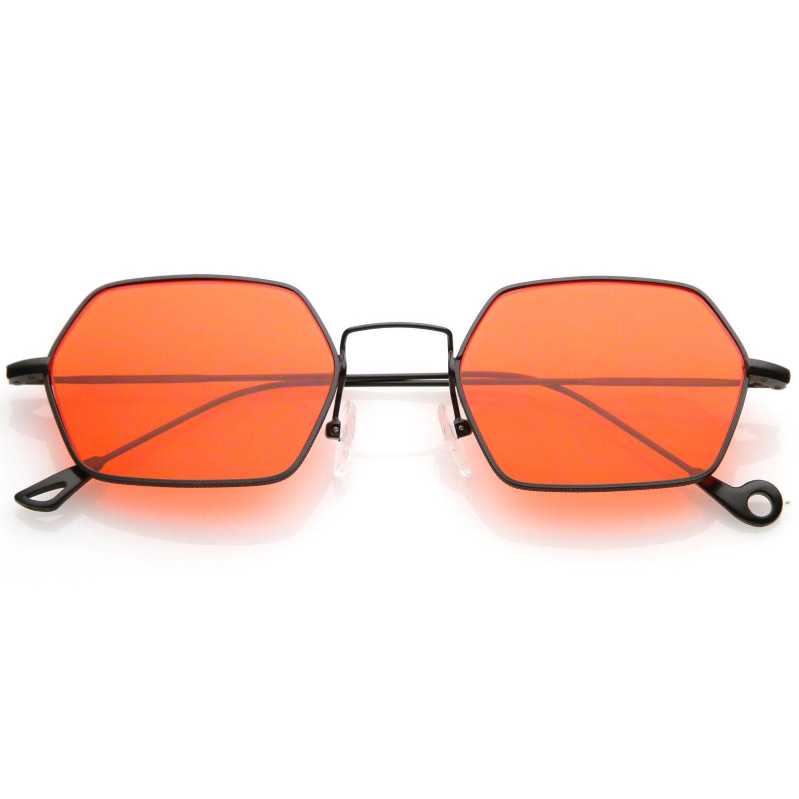f55b507ea Small Metal Hexagon Sunglasses Ultra Slim Arms Colored Flat Lens 51mm Óculos  De Sol Feminino,