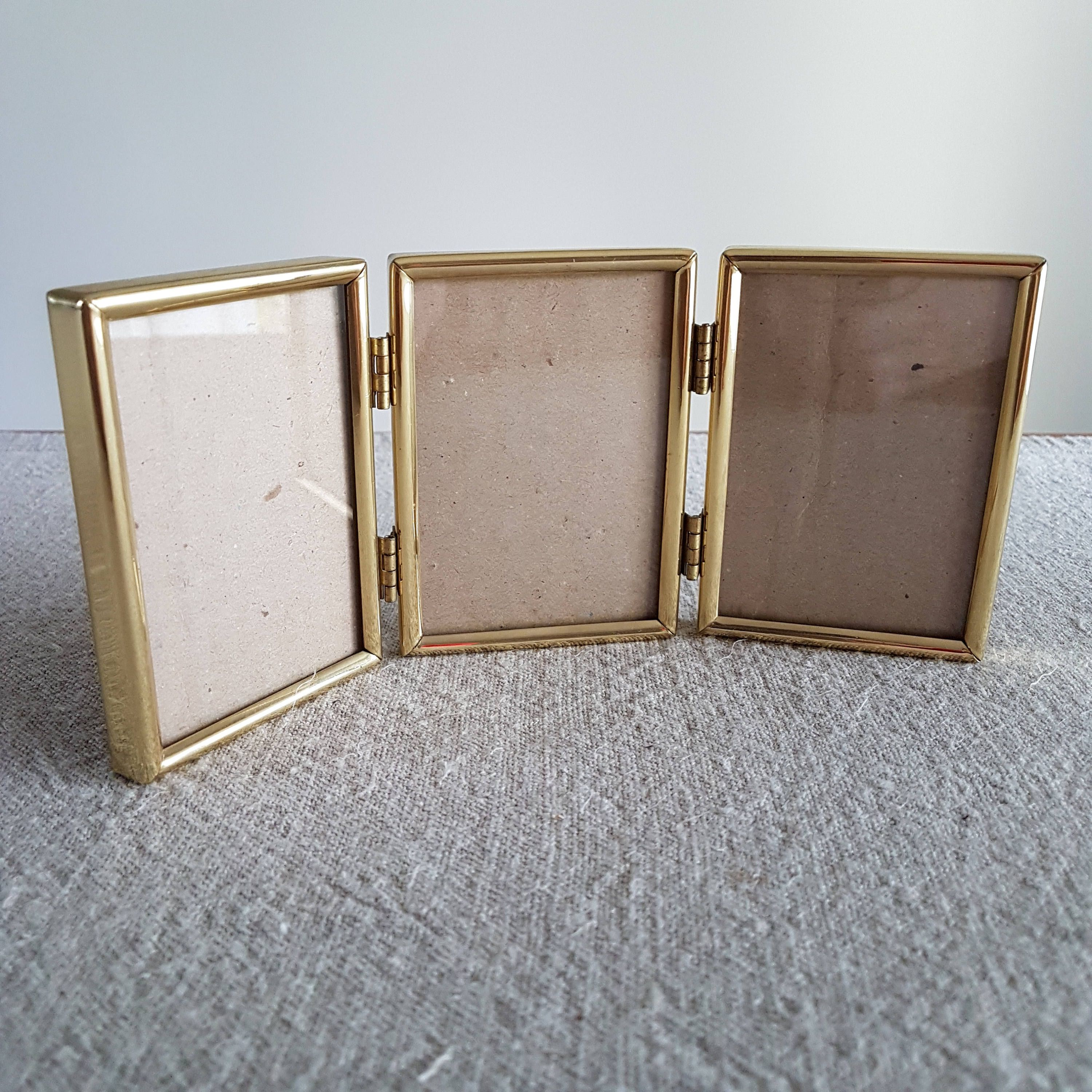 2 12 X 3 12 Hinged Folding Brass Picture Frame Gold Metal Photo