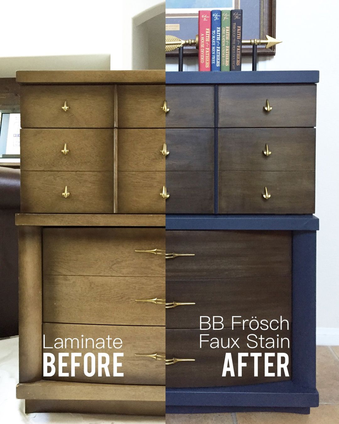 laminate furniture makeover. Midcentury Dresser Makeover\u2013Painting Laminate \u2013 All Things Thrifty Furniture Makeover R
