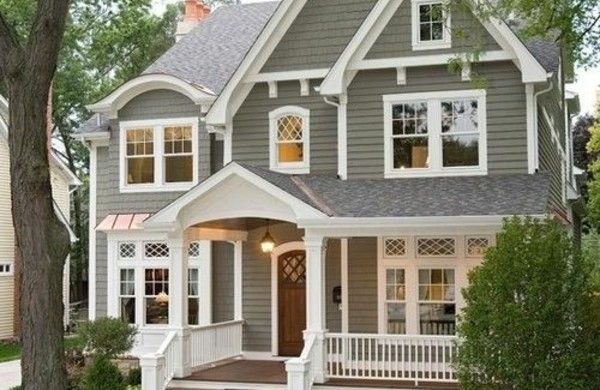 Fassadengestaltung einfamilienhaus grau  hausfassade farbe grau Einfamilienhaus vorgarten gestalten ...