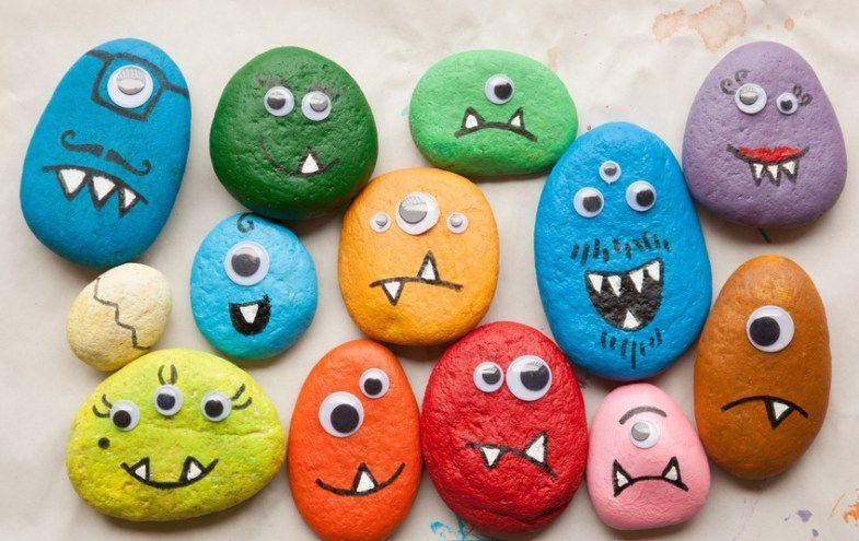 Bunt bemalte Steine als Monster #bemaltesteine Bunt bemalte Steine als Monster #bemaltesteine