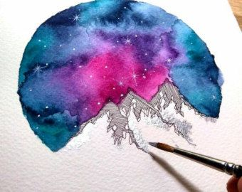 Mountains Watercolor Painting Blue Galaxy Art Print Watercolor