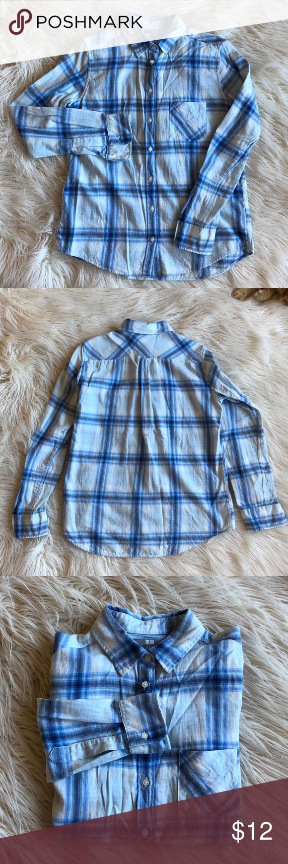 Uniqlo flannel jacket  Uniqlo Flannel Shirt in Blue and White  Uniqlo Flannel shirts and