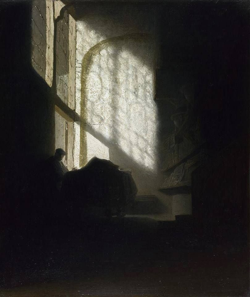 A Man seated reading at a Table in a Lofty Room-Rembrandt