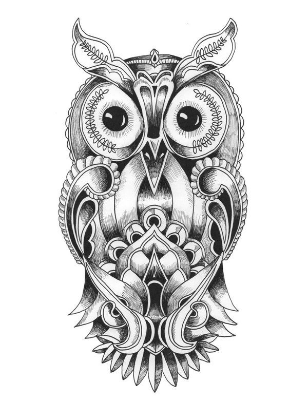 Coloriage Mandala Hibou Sketches Drawings Mandala