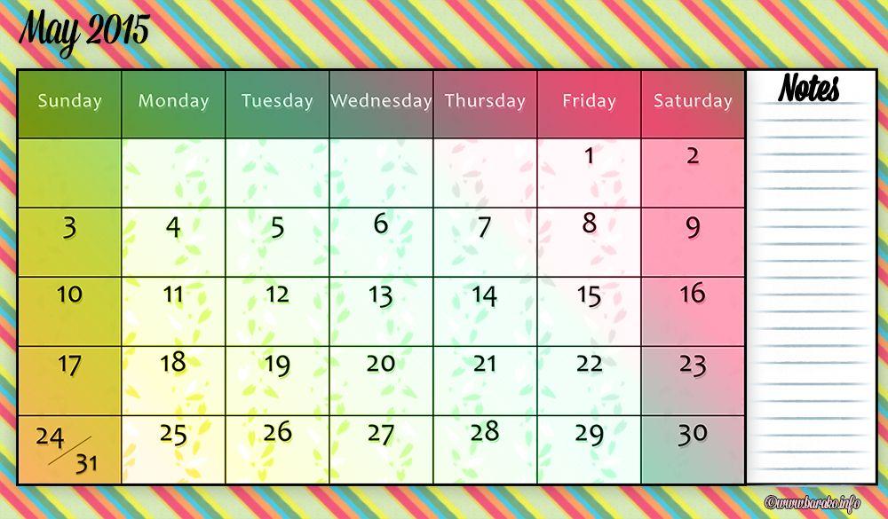Free Printable May 2015 Calendar Landscape Calendar Chart 2015