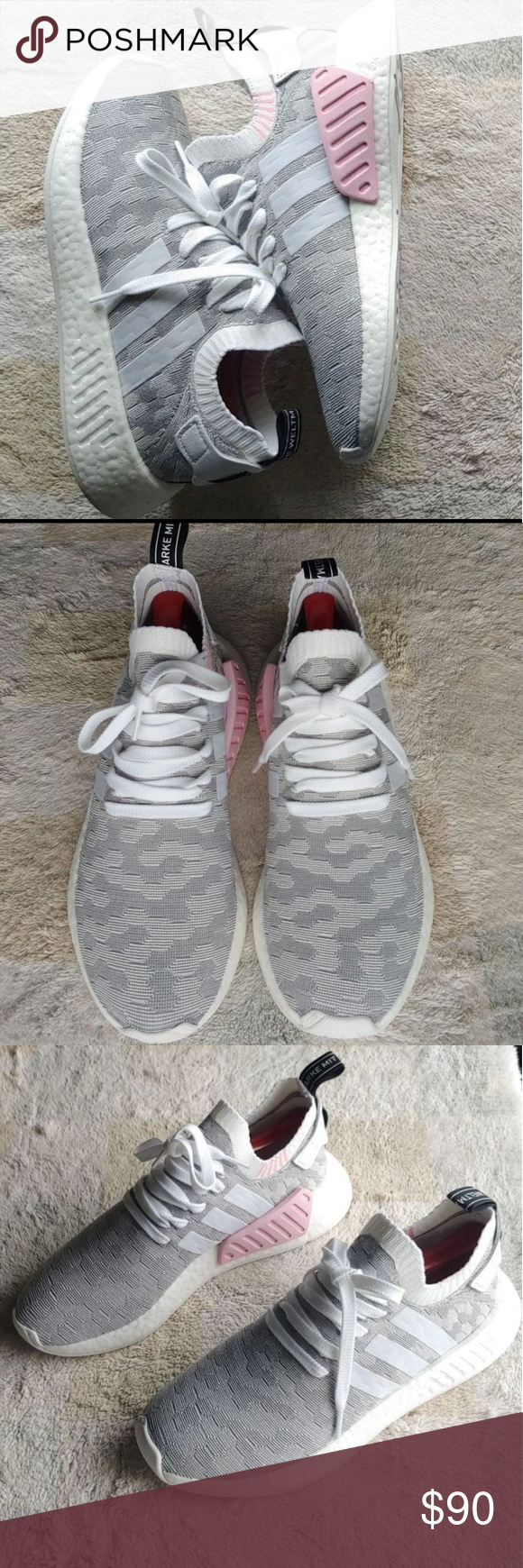 5f65bf6c0 New women s Adidas nmd R2 Women s Adidas nmd R2 size 10 brand new without  box white and grey colorway with pink accents adidas Shoes Athletic Shoes