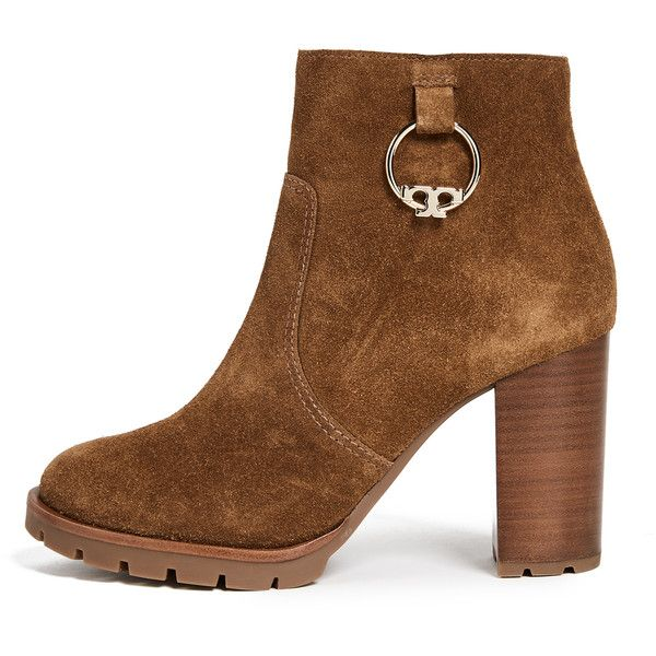 09a78258b78 Tory Burch Sofia 80MM Lug Sole Booties ( 255) ❤ liked on Polyvore featuring  shoes