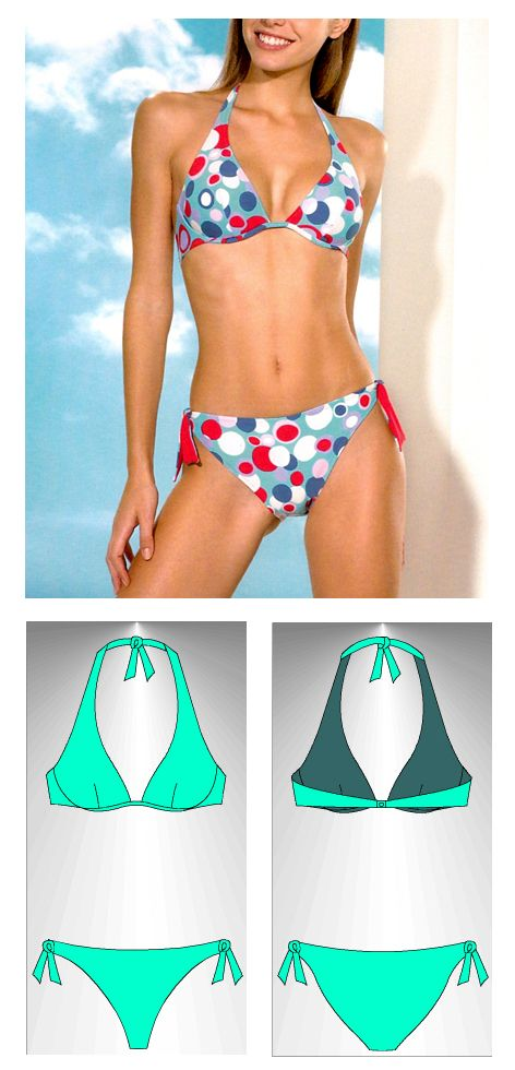 Bikini sewing pattern Caicos - Patrón de bikini Caicos | moda praia ...