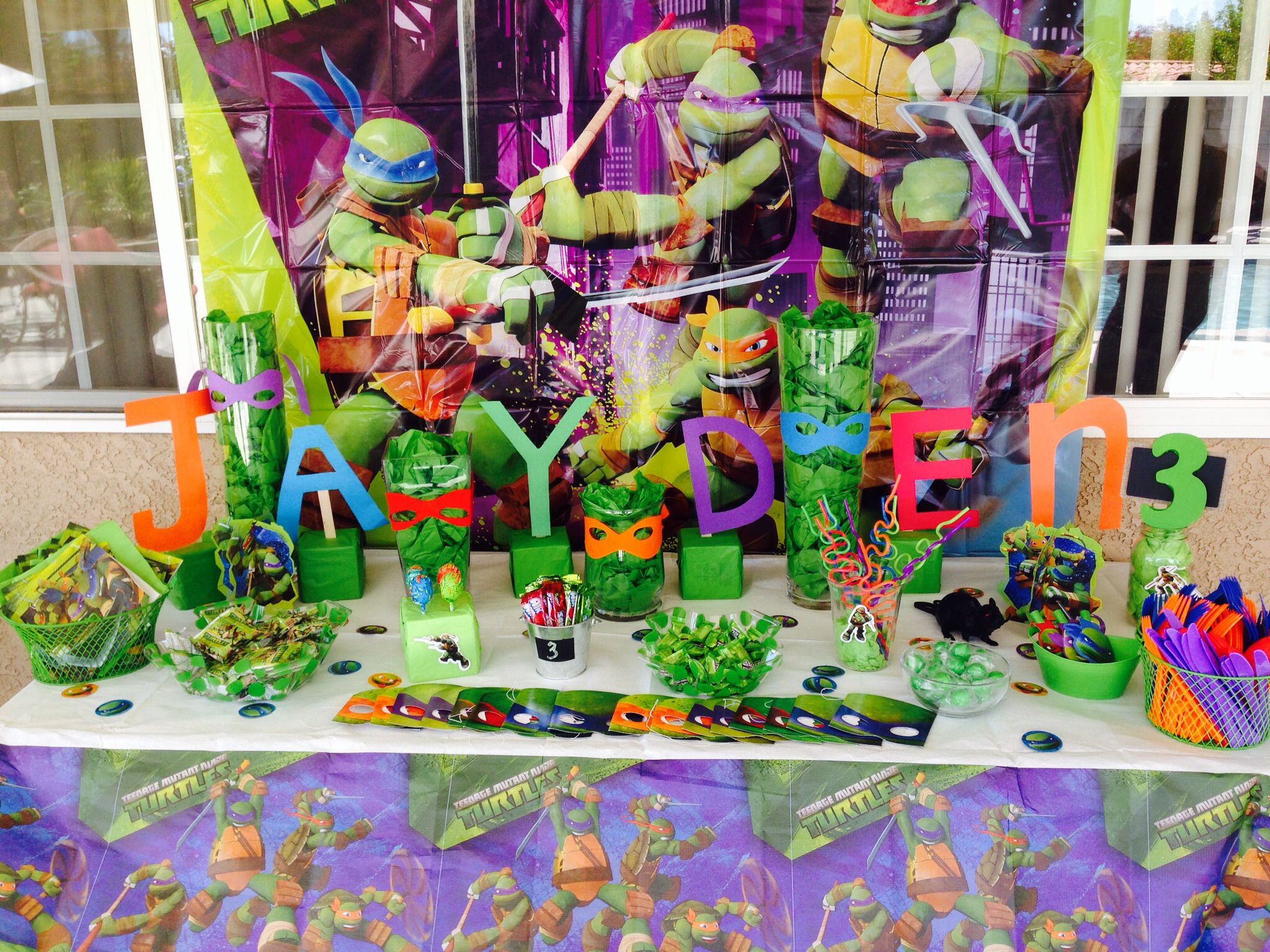 Candy Table Turtle Party Ninja Turtle Party 3rd Birthday Parties