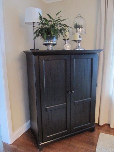 Computer Desk Turned Beverage Cabinet