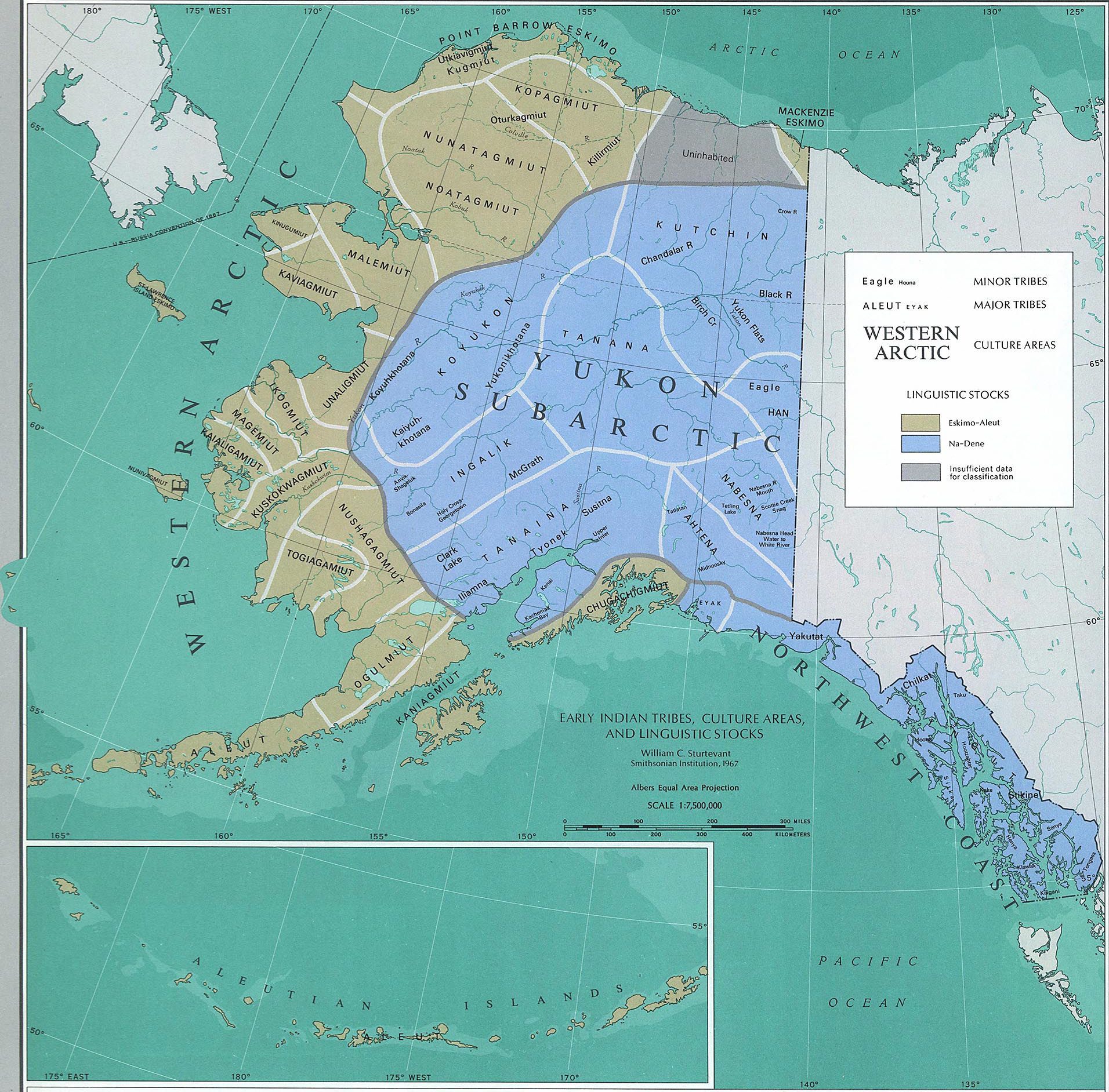 Map of Alaska Early Indian Tribes Culture Areas and Linguistic