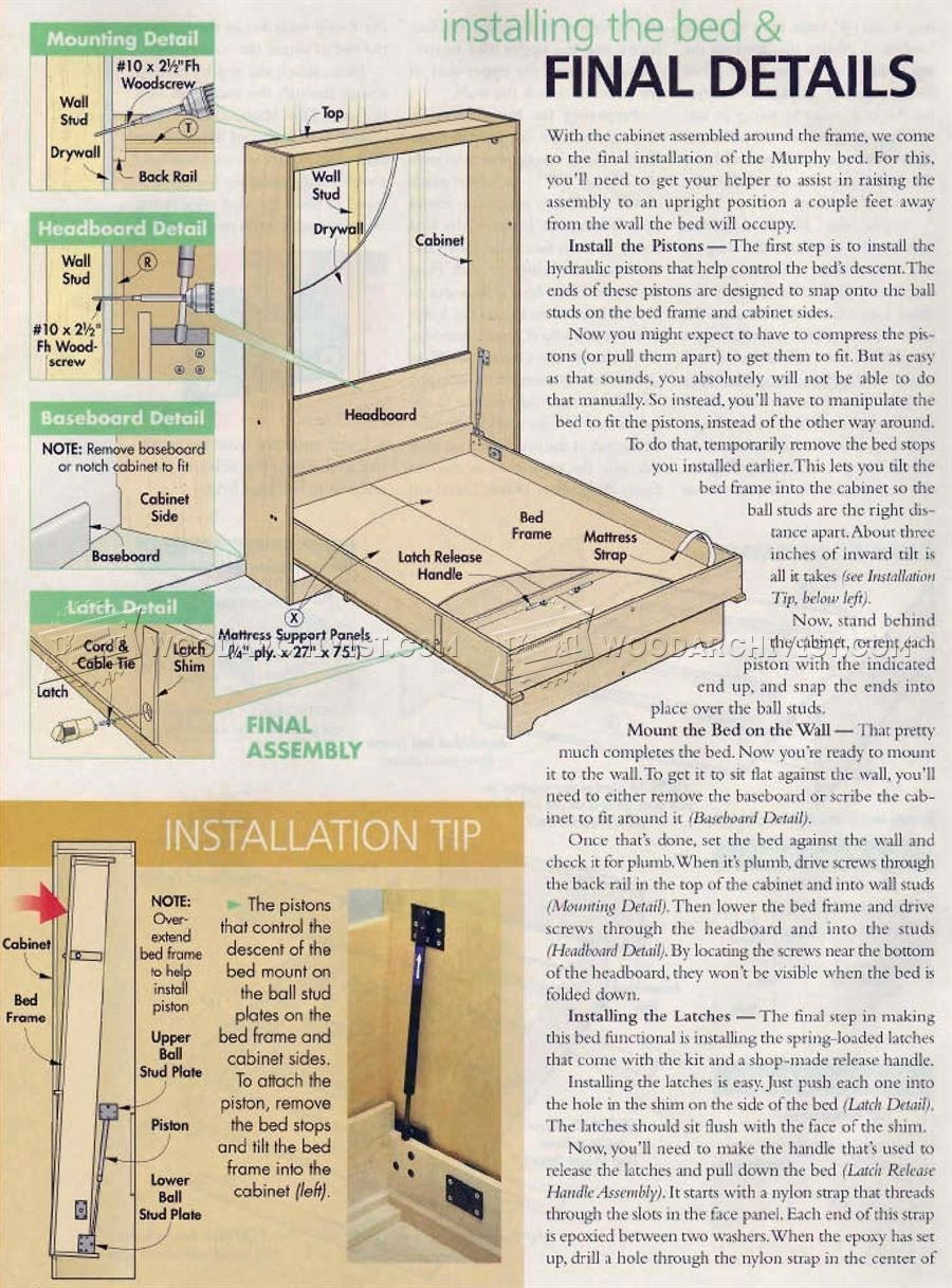 2932 Murphy Bed Plans Furniture Plans Murphy Bed