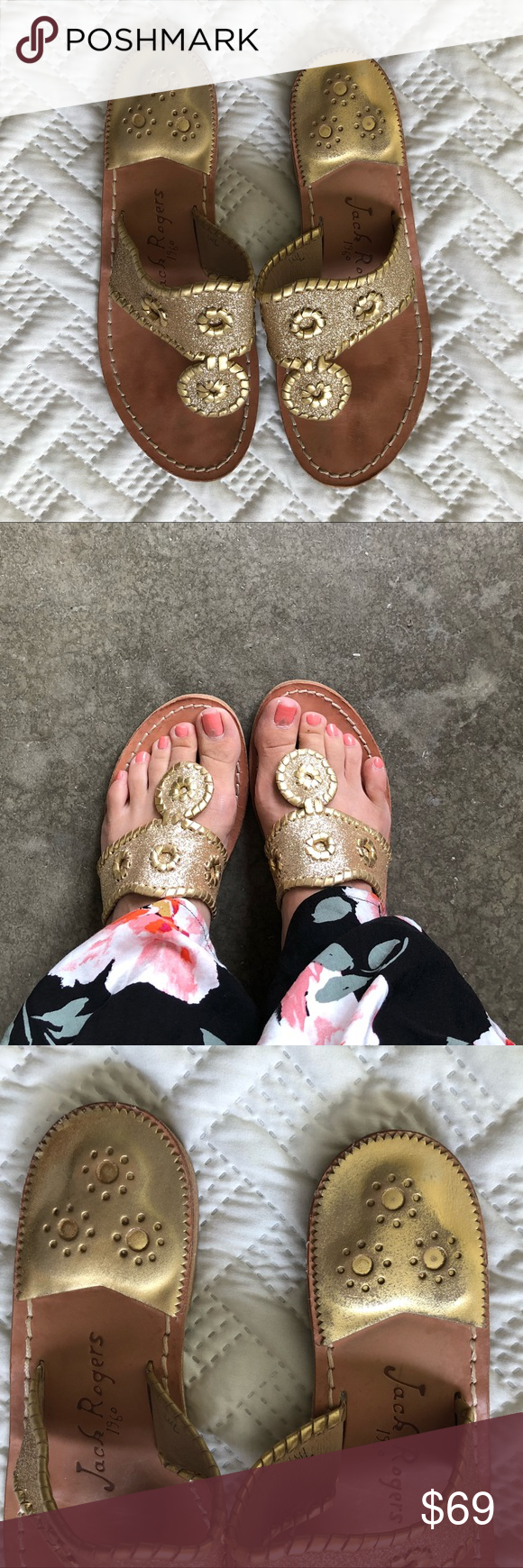 Jack Rogers Gold Glitter Cleo Sandals (With images) Jack