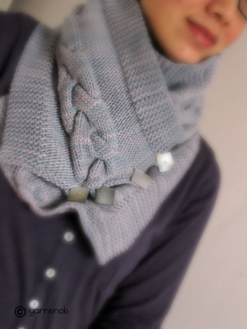 From YarnSnob. Find the idea of buttoning a cowl appealing. Great cable.