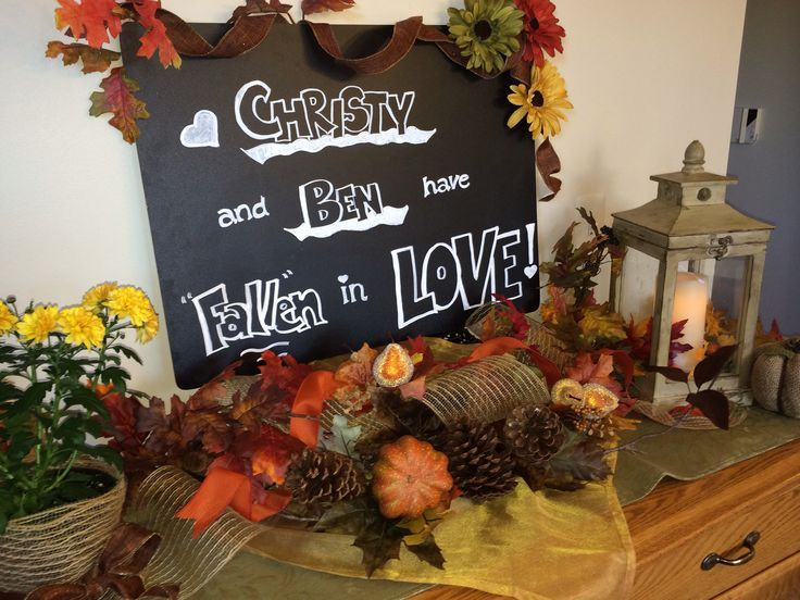 "fall+bridal+shower+ideas | Fall wedding shower decor..theme ""fall in love"""