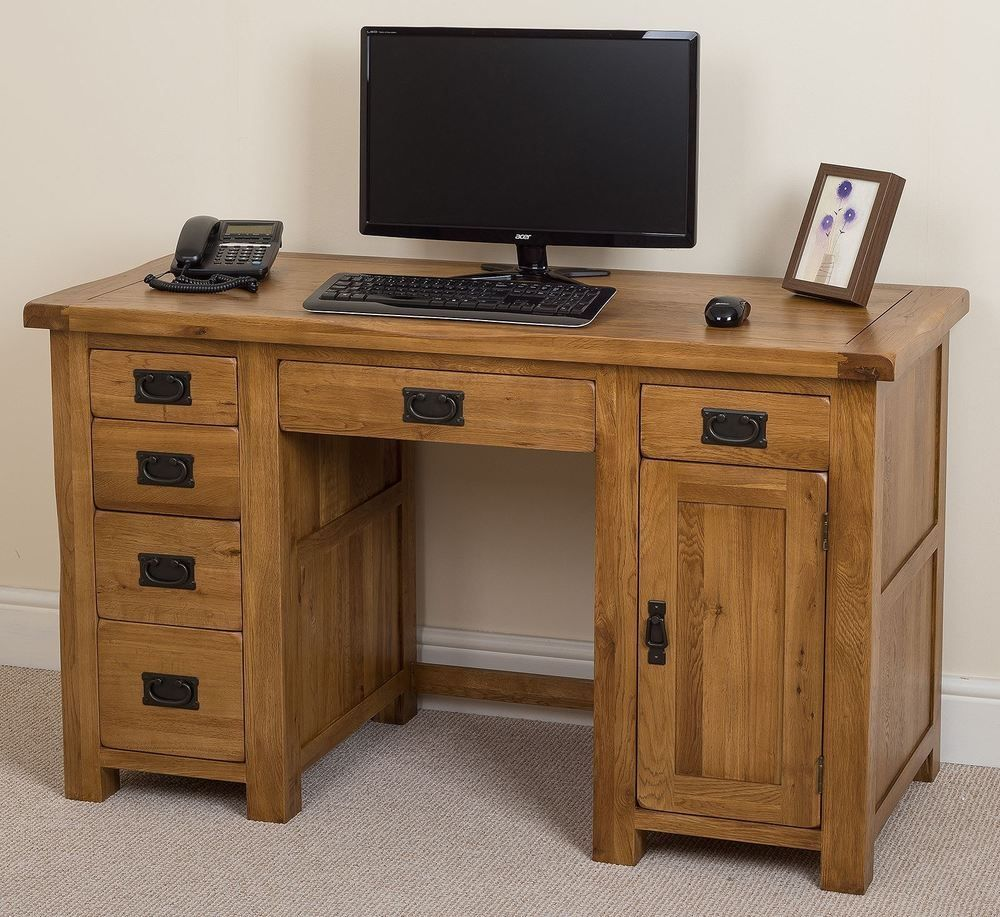 Rustic Solid Oak Computer Desk #computerdesk
