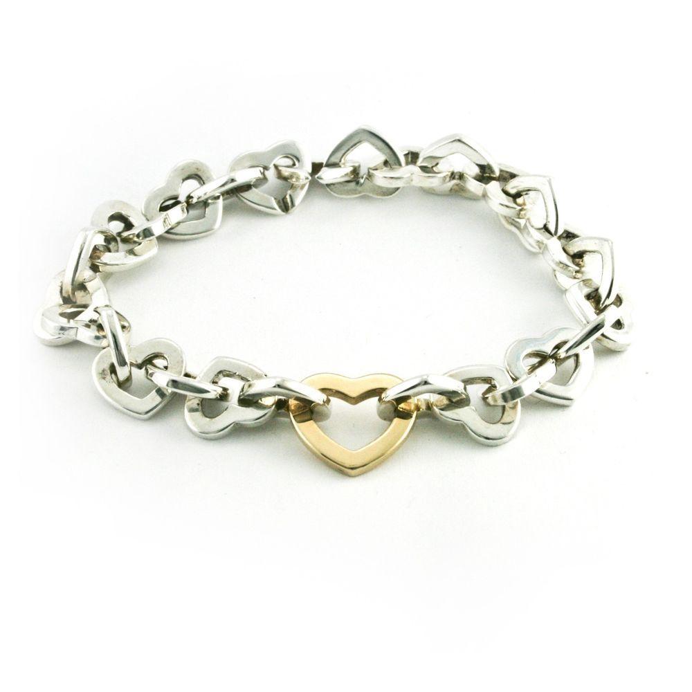941691e9d59 Tiffany & Co. Heart Link Bracelet 18k Solid Yellow Gold 925 Sterling Silver  7.5