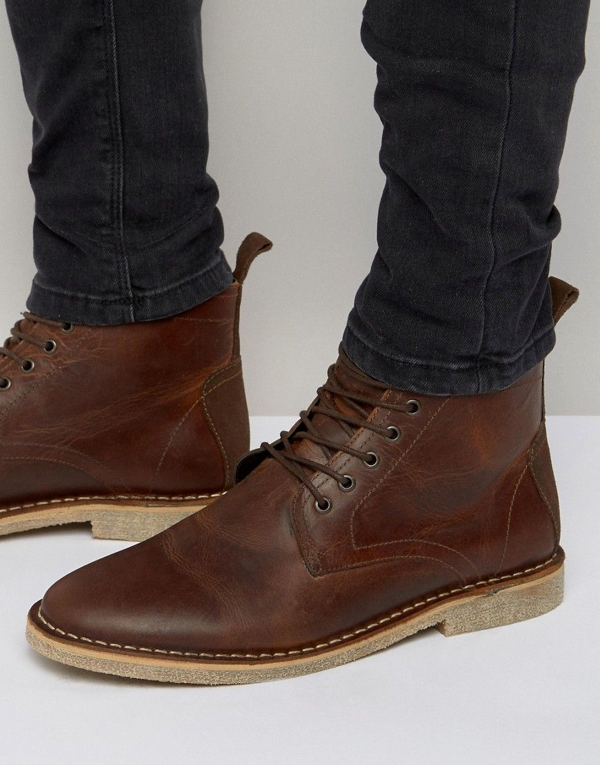 Buy Men Shoes / Asos Desert Boots In Brown Suede With Leather Details