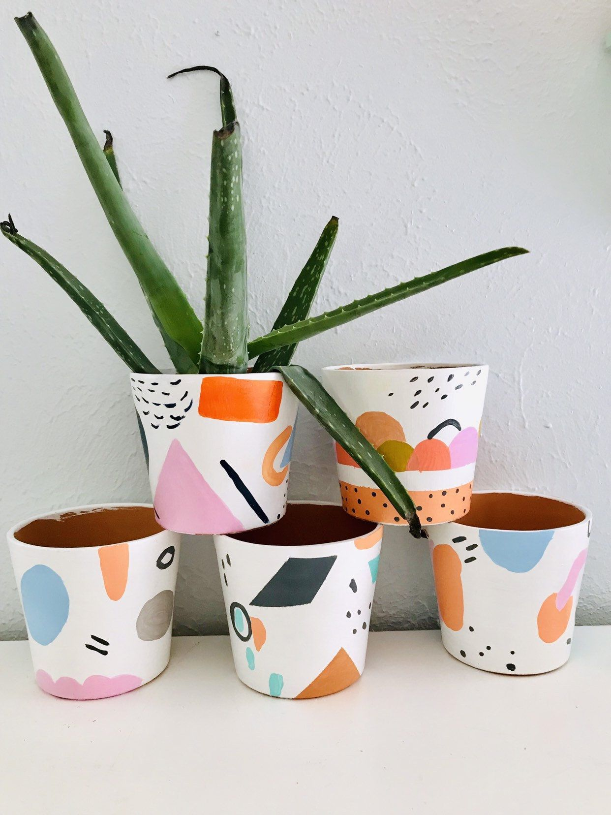 Best 12 Hand Painted One Of A Kind Planters Etsy Skillofking Com Painted Plant Pots Painted Pots Diy Painted Flower Pots