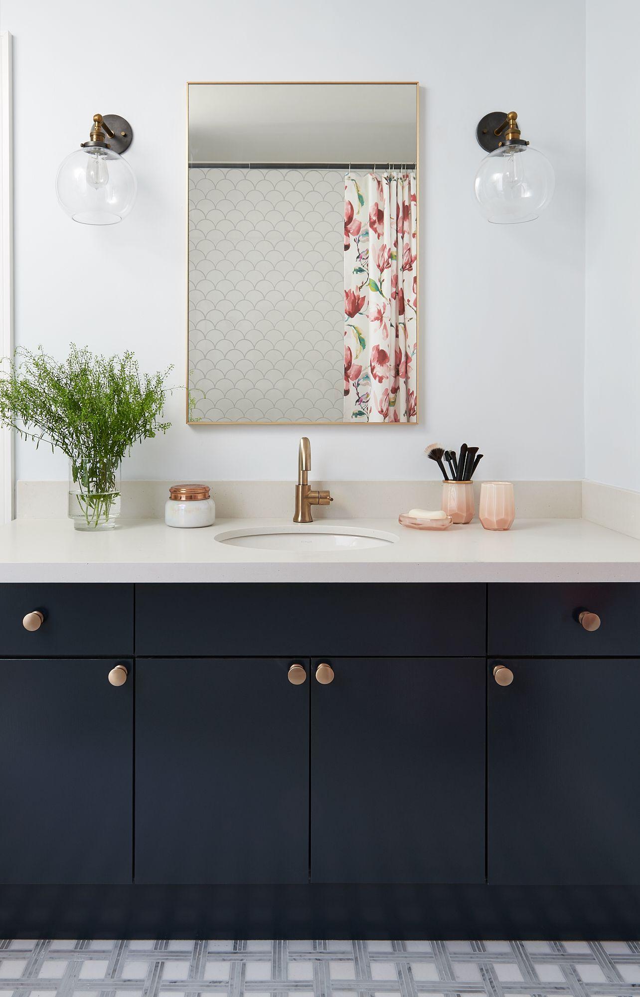 8 Black Bathroom Cabinet Ideas That You Ll Want To Copy Now Hunker Black Cabinets Bathroom Black Vanity Bathroom Black Bathroom