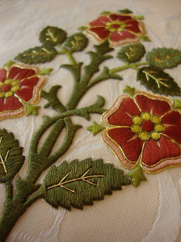 Silk tudor roses with japan gold embellishment