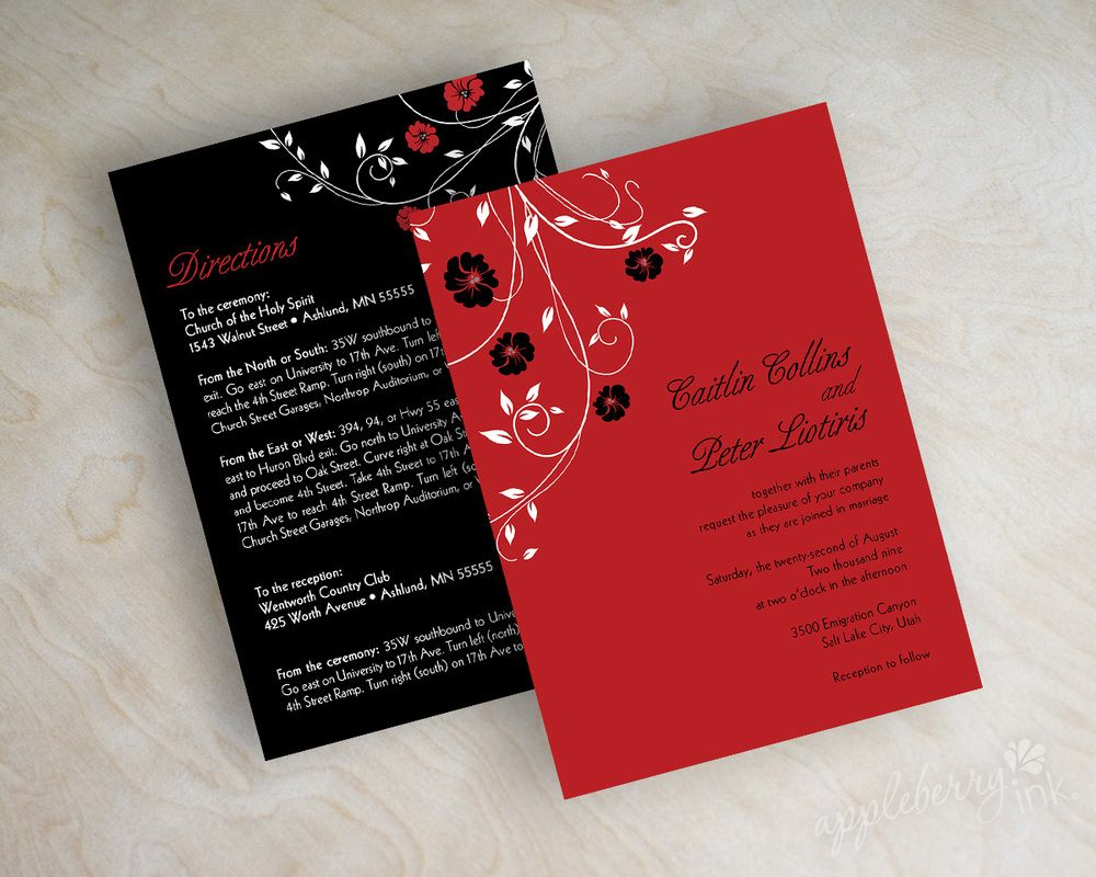 Swirly Vines Wedding Invitations. Shown in red and black. Printed ...