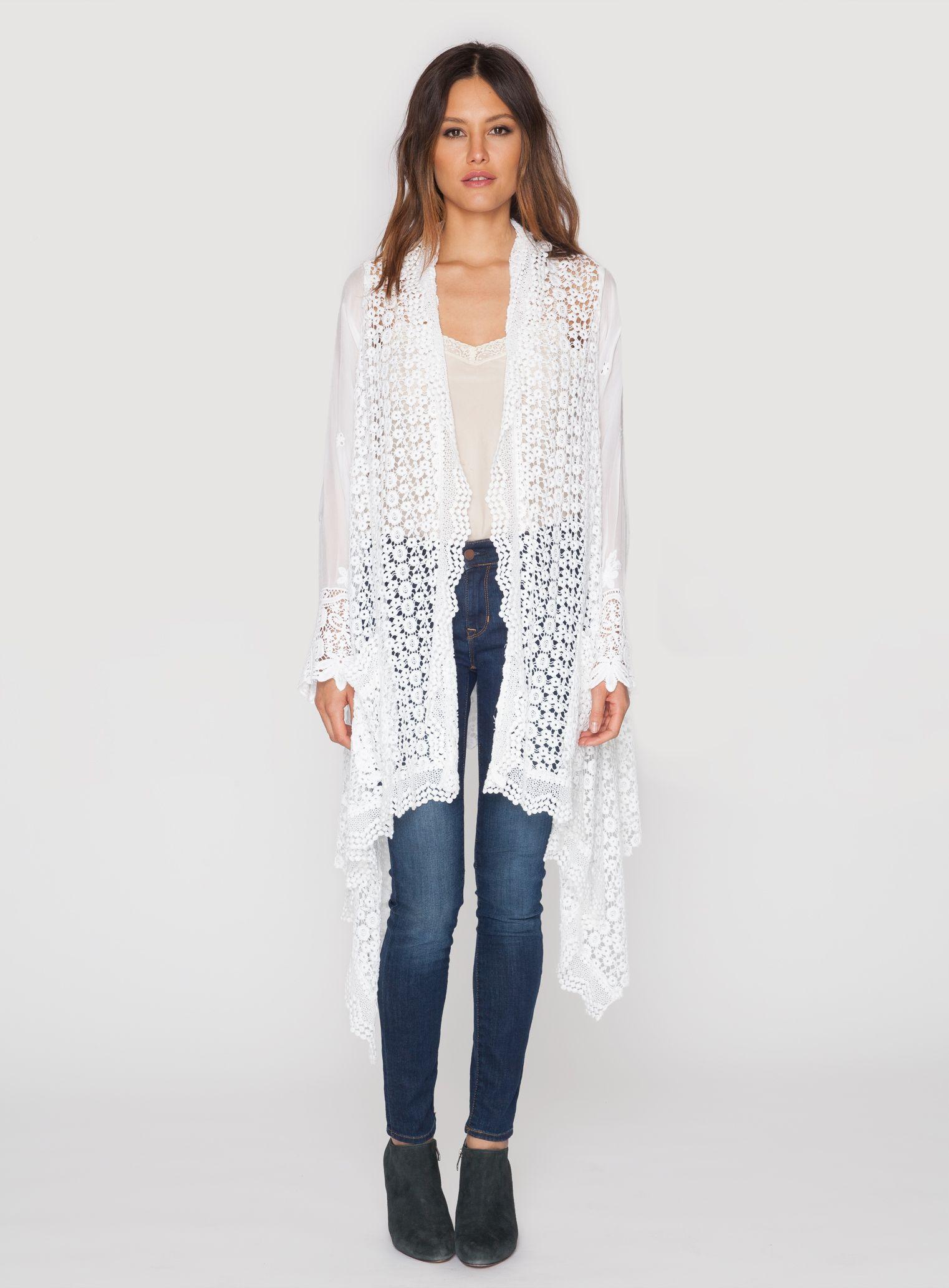 Johnny Was Long Crochet Open Jacket Natural Women S Plus Size Clothing Sale Sweaters For Women Outerwear Women