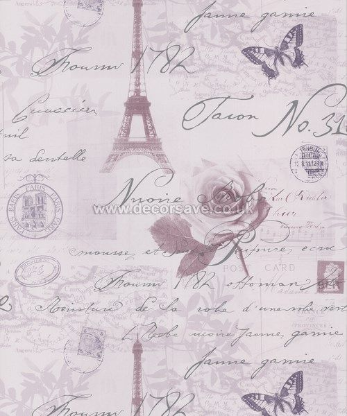 Superb Holden Decor K2 Calligraphy Wallpaper 97751. Paris French Heather Lilac  Silver
