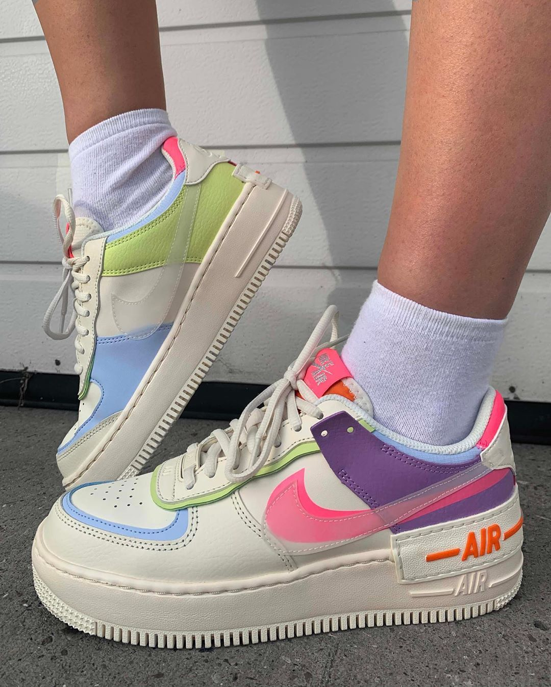 An On Foot Look At The Nike Air Force 1 Shadow Pastel Multi