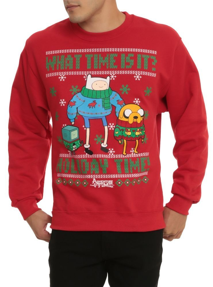 Adventure Time BMO Holiday Jake Finn Ugly Christmas Sweater Crew ...