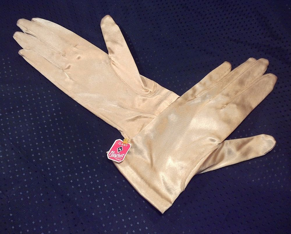Wrist Gloves Gold Lame Gant Neyret Stretch Paris NWT Prom Wedding Vtg Size 7 #GantNeyret