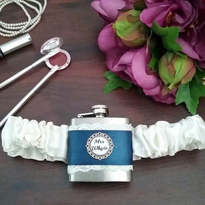 Funny Wedding Garters: Personalised Flask Garters, Wedding Hip Flask Garter, Fun