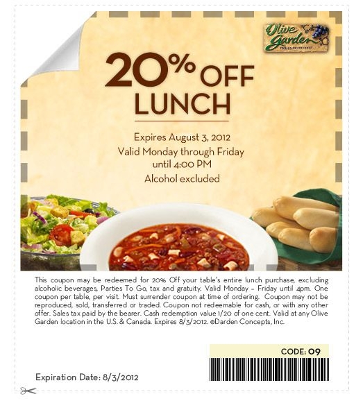 Olive Garden 20 Off Lunch Coupon Olive Garden Lunch