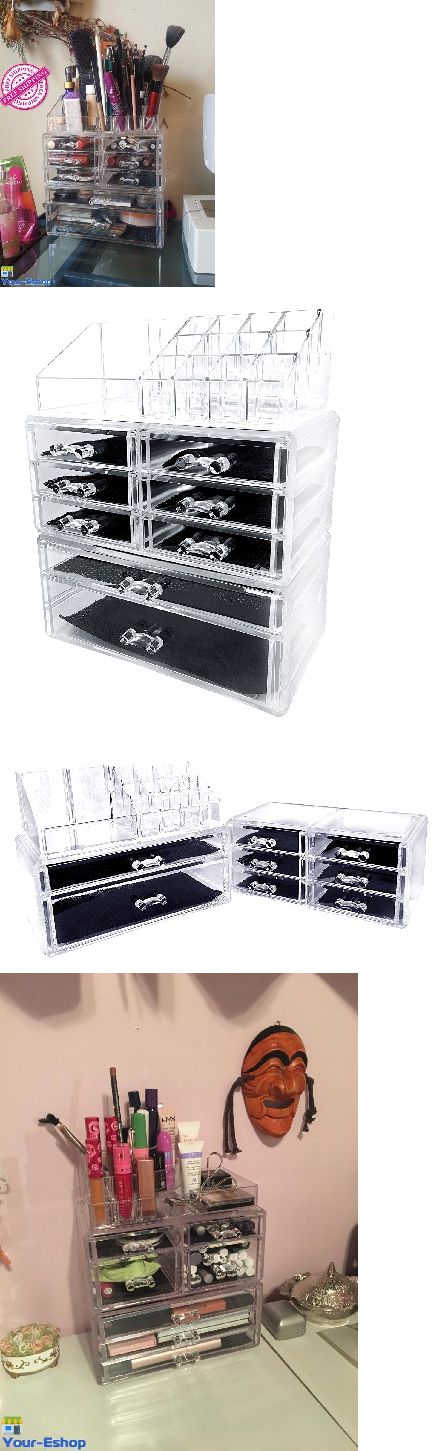 Makeup Bags and Cases: Clear Acrylic Makeup Large Organizer 8 Drawers Box For Make Up Cosmetic Storage BUY IT NOW ONLY: $34.69