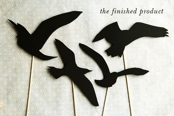 """The Birds"" Shadow Puppets DIY   Halloween costume idea: wear a trench coat, a disheveled 60s up do and Tape the shadow puppets on your shoulders so the birds look like they are attacking you."