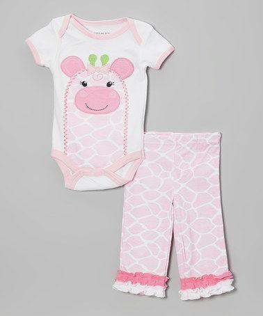 Look what I found on #zulily! Pink Giraffe Bodysuit & Pants - Infant #zulilyfinds