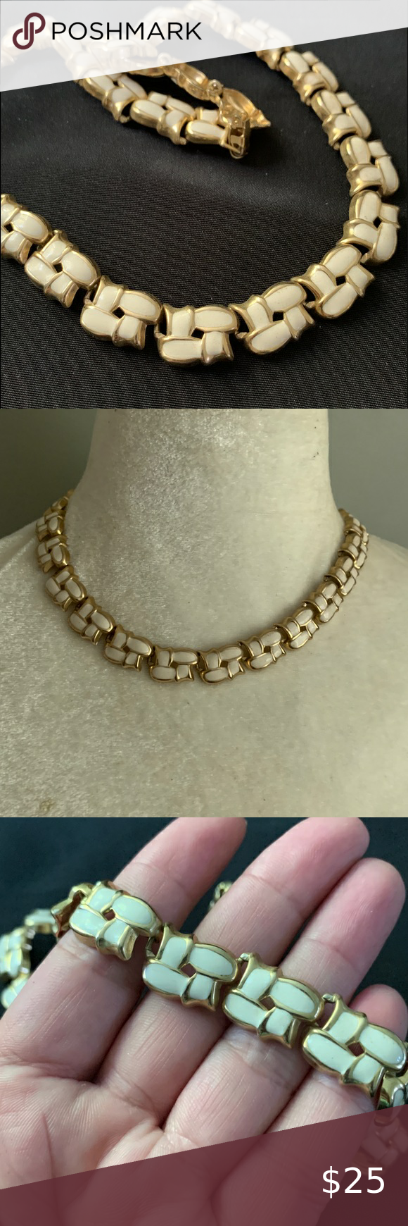 Gold Tone Enamel Braided Woven Collar Necklace Collar Necklace Womens Jewelry Necklace Gold Tones