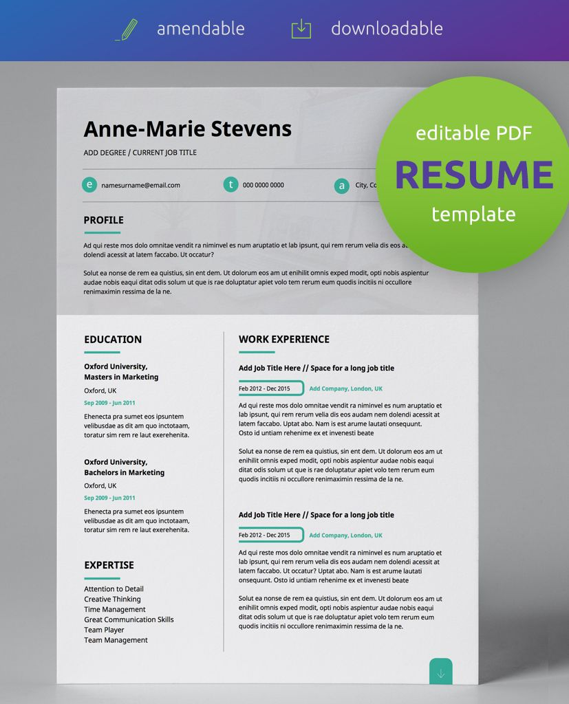 Subtle Cyan Modern Double Page CV Resume Resume