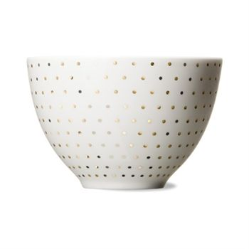 Skal white/gold dot bowl