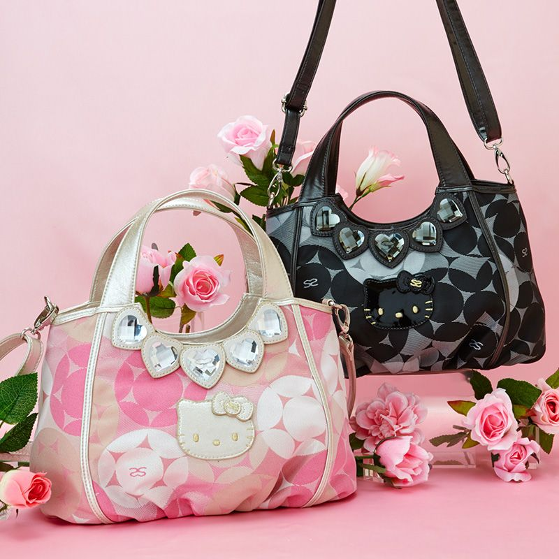 17774a1e7e70 Hello Kitty x SAVOY Collaboration 2 Way Shoulder Bag Handbag Jacquard Black    Pink SANRIO JAPAN