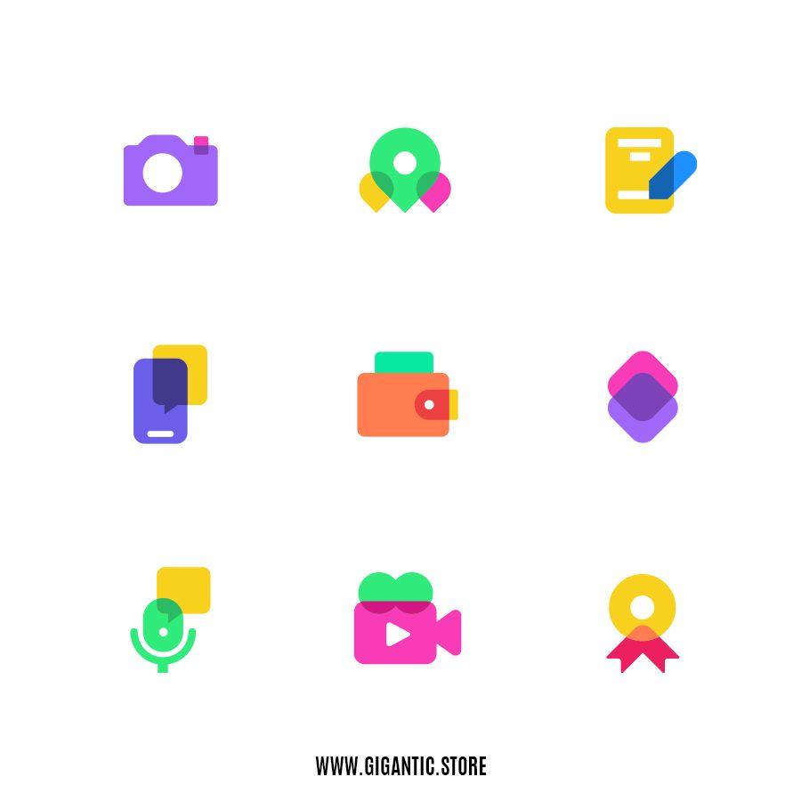 Colorful Icons 2 Gigantic Flat Design Illustration And 2d Animation In 2020 App Icon Design Creative App Design Flat Design Icons