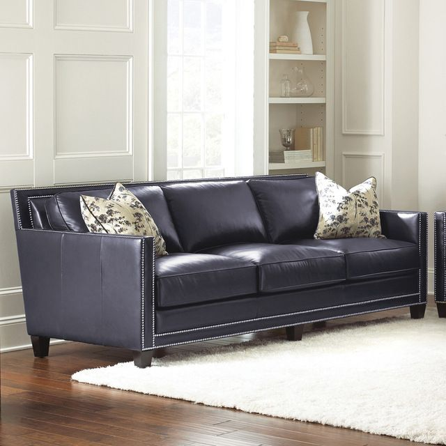 Sofa Pillows Contemporary: Steve Silver Hendrix Sofa W/2 Accent Pillows In Navy Blue