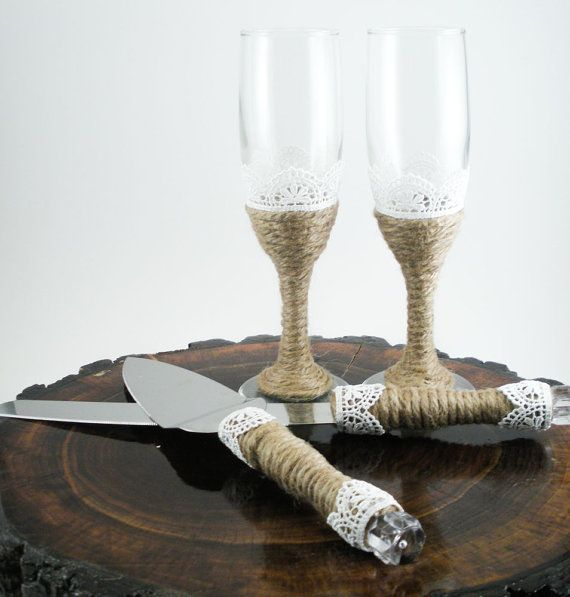Wedding Champagne Flutes And Cake Server Set Rustic Serving Gl